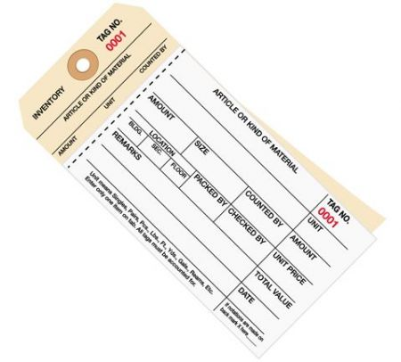 Stub Style 2 Part Carbonless Inventory Tags