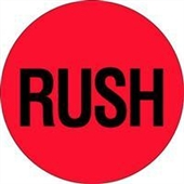 "#DL1740  2""  Circle ""RUSH"" Flourescent Red Label"
