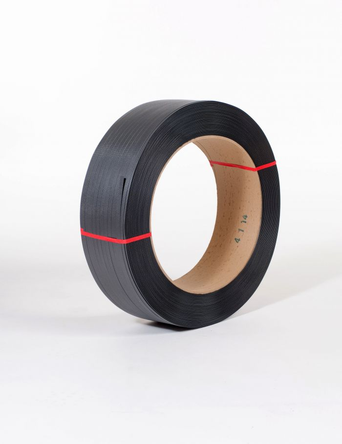 "1/2"" x 9,000` .015 300# 16 x 6 Black Hand Grade Poly Strapping"