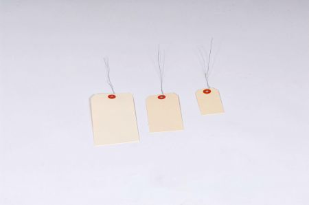 "#11 7 1/4 x 3 5/8"" 15 Pt. Jumbo Manila Shipping Tags - Pre-Wired (500/case)"