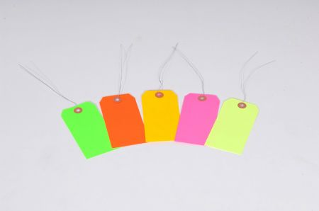 "#5 4 3/4"" x 2 3/8"" 13 Pt. Fluorescent Yellow Shipping Tags - Pre-Wired (1000/case)"