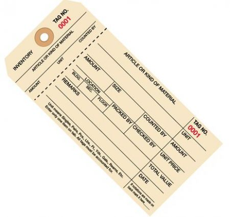 #8 Stub Style 1-Part Inventory Tags #2000 - 2999 - Unwired (1000/case)