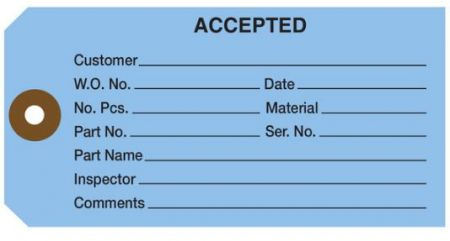 """#5 4 3/4"""" x 2 3/8"""" 13 Pt. Blue """"Accepted"""" 1-Part Inspection Tags - Unwired (1000/case)"""