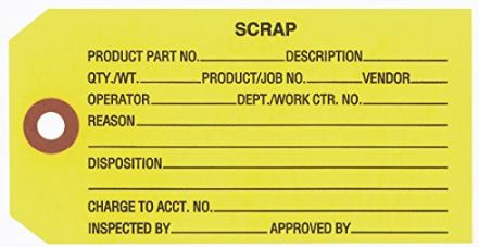 "#5 4 3/4"" x 2 3/8"" 13 Pt. Yellow ""Scrap"" 1-Part Inspection Tags - Unwired (1000/case)"