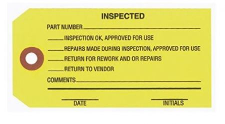 "#5 4 3/4"" x 2 3/8"" 13 Pt. Yellow ""Inspected"" 1-Part Inspection Tags - Unwired (1000/case)"