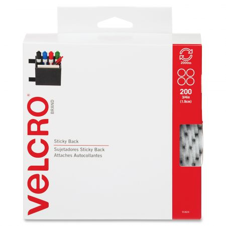 "3/4"" White VELCRO® Brand Hook and Loop Dots 200 each per package"