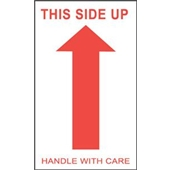 "#DL1050 3 x 5"" This Side Up Handle with Care (Arrow) Label"