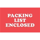 "#DL1110  2 x 3""  ""PACKING  LIST ENCLOSED"" Label"