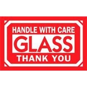 "#DL1230  3 x 5""  Handle with Care Glass Thank You Label"