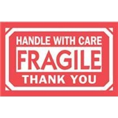 "#DL1250  3 x 5""  Fragile Handle with Care Thank You Label"