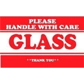 "#DL1279  2 x 3""  Please Handle with Care Glass Thank You Label"