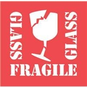 "#DL1282  4 x 4""  Glass Fragile Glass (Broken Glass) Label"