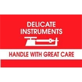 "#DL1340  3 x 5""  Delicate Instruments Handle with Great Care Label"