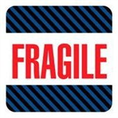 "#DL1540  4 x 4""  Fragile (Black/Blue Stripes) Label"
