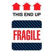 "#DL1550  4 x 6""  Fragile This End Up (Black-Blue Stripes/Arrows) Label"