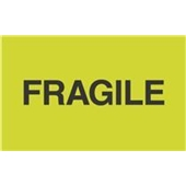 "#DL2421  3 x 5""  Fragile ""Flourescent Green"" Label"