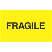 "#DL2422  3 x 5""  Fragile ""Fluorescent Yellow"" Label"