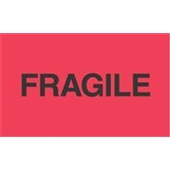 "#DL2423  3 x 5""  Fragile ""Flourescent Red"" Label"