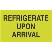 "#DL2601  3 x 5""  Refrigerate Upon Arrival (Flourescent Green/Black) Label"