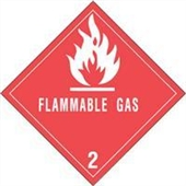 "#DL5070  4 x 4""  Flammable Gas - Hazard Class 2 Label"