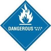 "#DL5150  4 x 4""  Dangerous When Wet - Hazard Class 4 Label"