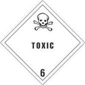 """#DL5181  4 x 4""""  Toxic - Hazard Class 6 Label"""