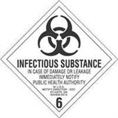 """#DL5190  4 x 4""""  Infectous Substance - Hazard Class 6 Label"""