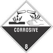 "#DL5240  4 x 4""  Corrosive - Hazard Class 8 Label"