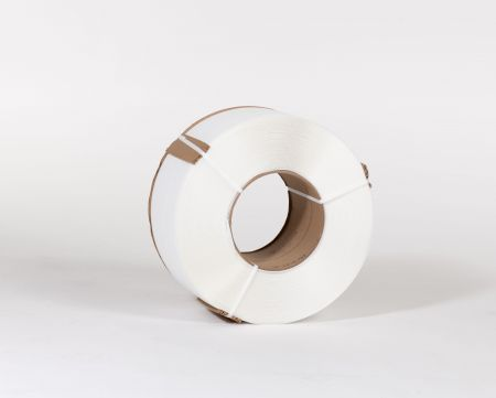 "3/8"" X 12,900` .024 300# 8 x 8 White Machine Grade Poly Strapping"