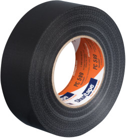 "3"" x 60 yds. (72mm x 55m) 9 Mil Black Cloth Duct Tape (16/Case)"