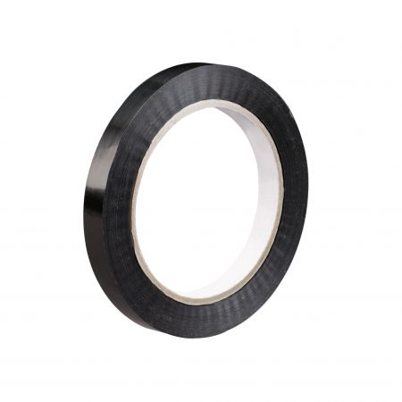 """1"""" x 60 yds. 2.7 mil Black 94 lbs. Tensile Strength Tensilized Polypropylene Strapping Tape (72/Case)"""